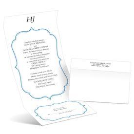 Graceful Frame - Blue - Seal and Send Wedding Invitation