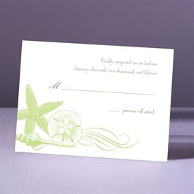 Starfish and Seashells - Pear - Response Card and Envelope