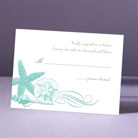 Starfish and Seashells - Lagoon - Response Card and Envelope