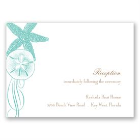Starfish and Seashells - Lagoon - Reception Card
