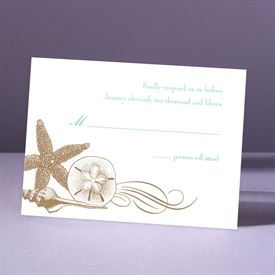 Starfish and Seashells - Latte - Response Card and Envelope