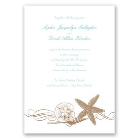 Starfish and Seashells - Latte - Invitation