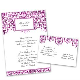 Chandelier Chic - Amethyst - Invitation with Free Response Postcard