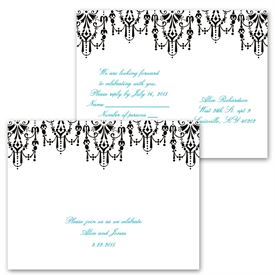 Chandelier Chic - Ebony - Invitation with Free Response Postcard