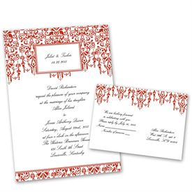Chandelier Chic - Scarlet - Invitation with Free Response Postcard