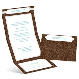Graceful Lines - Chocolate - Seal and Send Invitation