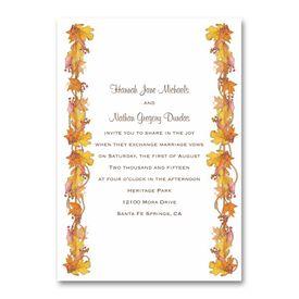Yellow Wedding Invitations: Fall Foliage  Invitation