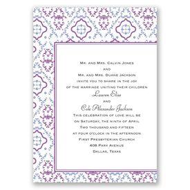 Purple Wedding Invitations: Antique Details Invitation