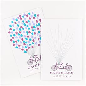 Wedding Guest Books and Pen Sets: Thumbprint Bicycle Signature Poster