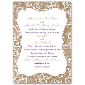 Boho Wedding Invitations: Lace Trim  Invitation