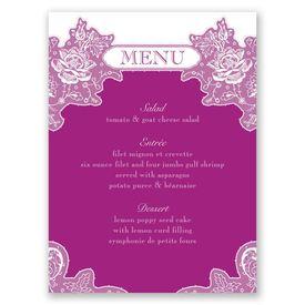 Romantic Details - Menu Card