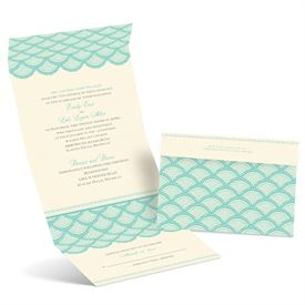 Scalloped Lace - Ecru - Seal and Send Invitation