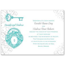 Heart Wedding Invitations: Love Unlocked  Invitation