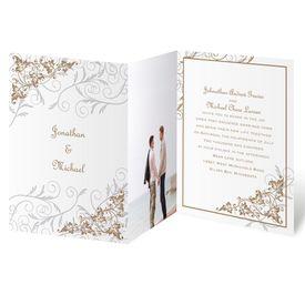 Elegant Wedding Invitations: Filigree Leaves  Photo Invitation