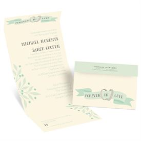 Wedding Bands - Ecru - Seal and Send Invitation