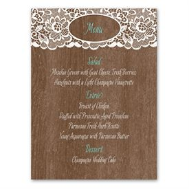 Woodgrain and Lace - Menu Card