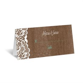 Woodgrain and Lace - Place Card
