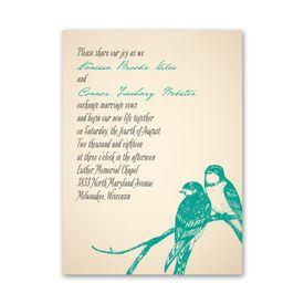 Bird Wedding Invitations: Perched Lovebirds  Petite Invitation