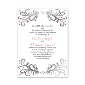 Elegant Wedding Invitations: Flowers And Filigree Petite Invitation