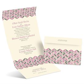 Feathered Chevron - Ecru - Seal and Send Invitation