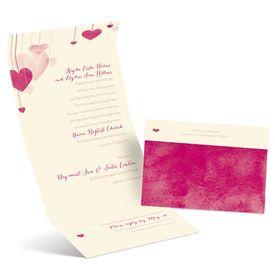 Suspended Hearts - Ecru - Seal and Send Invitation