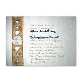 Burlap Wedding Invitations: Seashell Buttons  Invitation