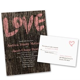 rustic wedding invitations painted love invitation with free response postcard - Country Rustic Wedding Invitations
