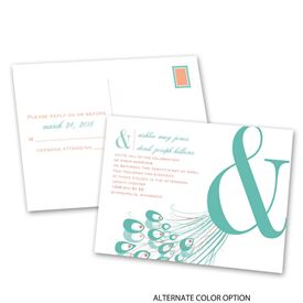 Peacock Passion - Invitation with Free Response Postcard