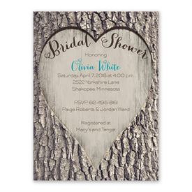 cheap bridal shower invitations carved heart bridal shower invitation