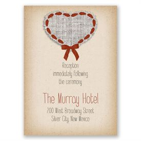 Burlap and Ribbon - Reception Card