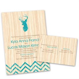 Aqua Wedding Invitations: Rustic Appeal  Invitation with Free Response Postcard