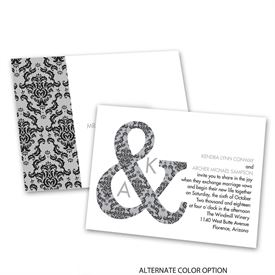 Damask Ampersand - Invitation with Free Response Postcard