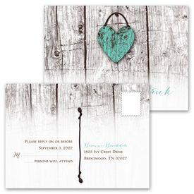 Wood Heart - Invitation with Free Response Postcard