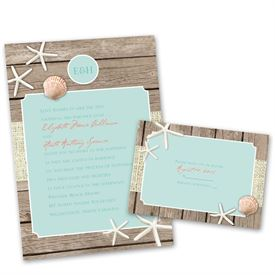 Wedding Invitation Sets Beach Retreat With Free Response Postcard