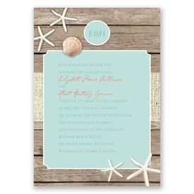 Beach Retreat  Invitation with Free Response Postcard