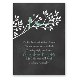 Chalkboard Lovebirds - Reception Card