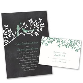 wedding invitation sets chalkboard lovebirds invitation with free response postcard - Brides Wedding Invitation Kits