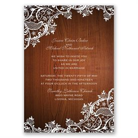 Lace Corners  Invitation with Free Response Postcard