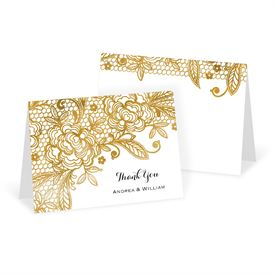 Wedding Thank You Cards: Gold Lace Thank You Card