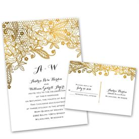 gold wedding invitations | ann's bridal bargains, Wedding invitations
