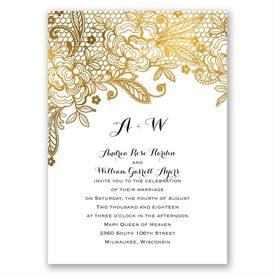 Gold Lace  Invitation with Free Response Postcard
