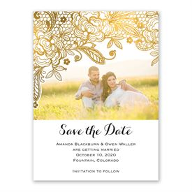 Gold Lace Save the Date Card