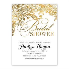 High Quality Cheap Bridal Shower Invitations: Gold Lace Bridal Shower Invitation