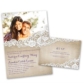wedding invitations burlap and lace frame invitation with free response postcard - Picture Wedding Invitations