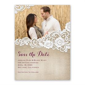 Burlap and Lace Save the Date Card