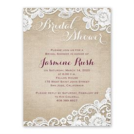 Cheap Bridal Shower Invitations: Burlap And Lace Bridal Shower Invitation