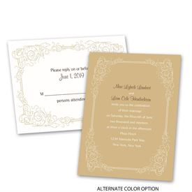Modern Scrollwork - Invitation with Free Response Postcard