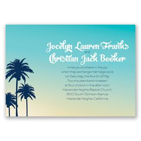 Palm Tree Silhouettes - Invitation with Free Response Postcard