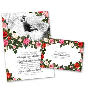 Vintage Wedding Invitations: Boho Floral Invitation With Free Response  Postcard