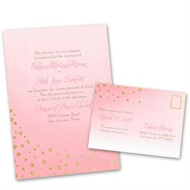 Wedding Invites Free Respond Cards: Gold Dust Faux Glitter Invitation With  Free Response Postcard